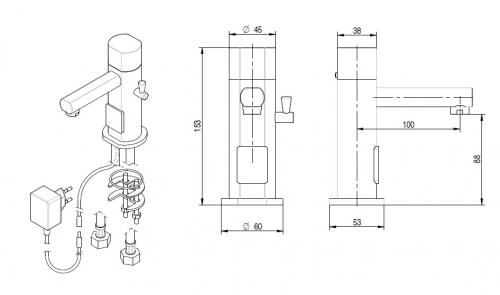 Sensorarmatur warm/ kalt 230V
